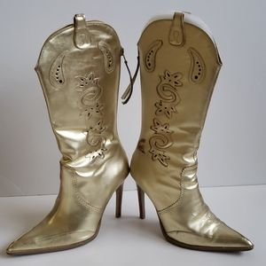 XOXO Leather Gold Boots